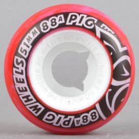 Street Cruisers Red/Pink Swirl 88A Skateboard Wheels 51mm
