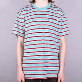 Striped Pocket T-Shirt - Mint/Coral Red