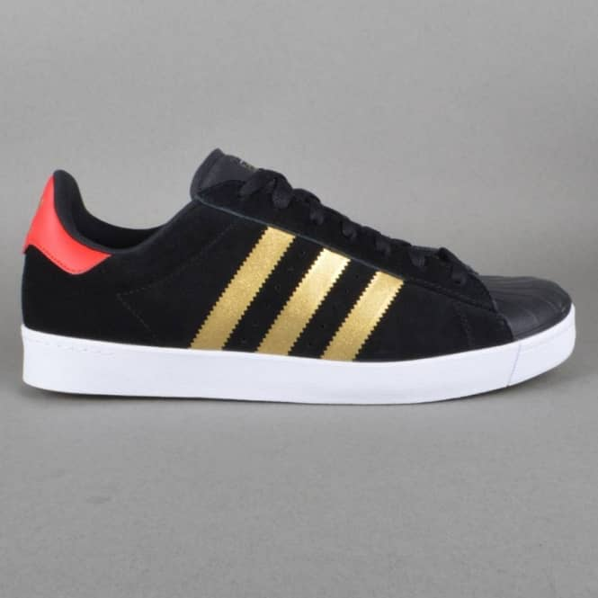 Adidas Skateboarding Superstar Vulc ADV Skate Shoes - CBLACK/GOLDMT/COLRED
