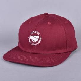 Supplies 6 Panel Strapback Cap - Burgundy/White