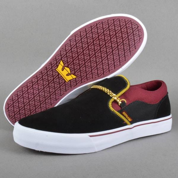 Supra Footwear Cuba Skate Shoes - Black Burgundy White - Mens Skate ... b83298355