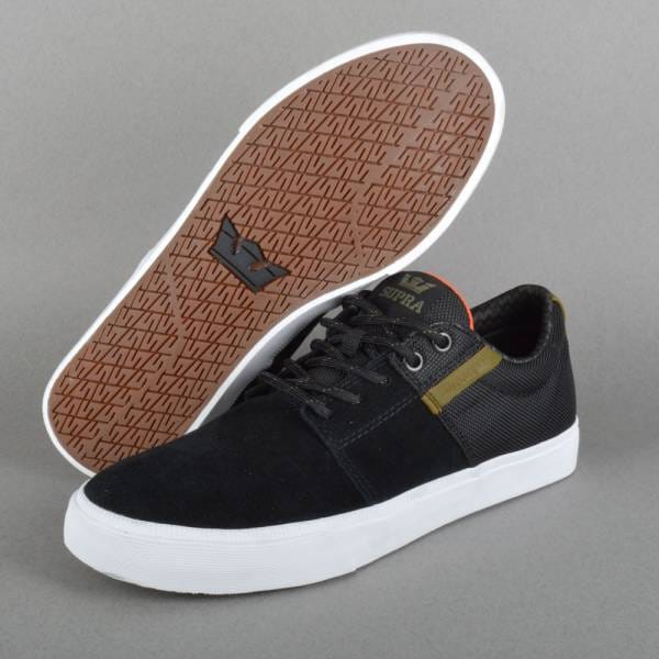 Stacks Vulc 2 Skate Shoes - Black/Olive - White