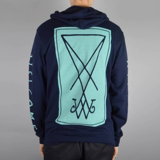 Welcome Skateboards Symbol Lightweight Pullover Hoodie - Navy/Light Blue
