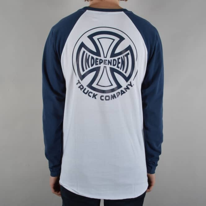Independent Trucks TC Longsleeve Baseball T-Shirt - White/Navy