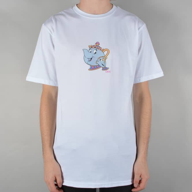 Skateboard Cafe Tea Cup Skate T-Shirt - White