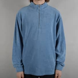 Terry Half Zip Top - Dusty Indigo