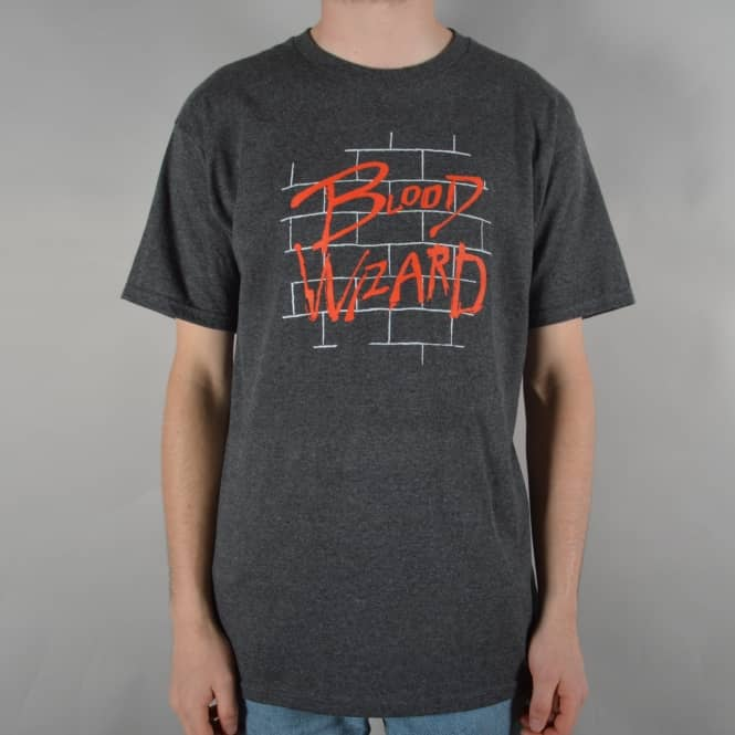 Blood Wizard The Wall Skate T-Shirt - Charcoal