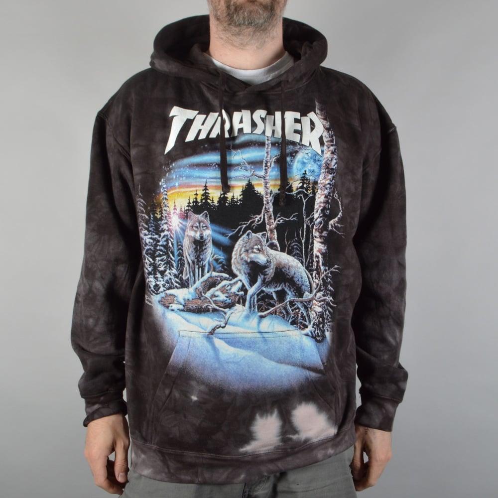 4e0e2de000ff Thrasher 13 Wolves Tie Dye Pullover Hoodie - Black - SKATE CLOTHING ...