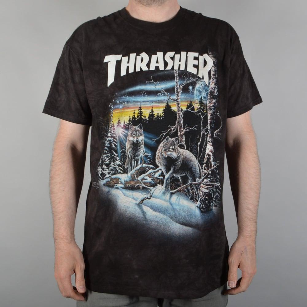 thrasher 13 wolves tie dye skate t shirt black skate clothing from native skate store uk. Black Bedroom Furniture Sets. Home Design Ideas