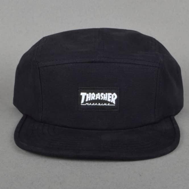 Thrasher 5 Panel Cap Black - SKATE CLOTHING from Native Skate Store UK 68306770b05