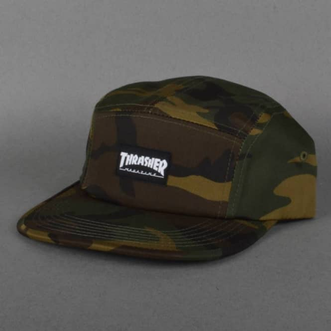 Thrasher 5 Panel Cap Camo - SKATE CLOTHING from Native Skate Store UK f00a4c161c0
