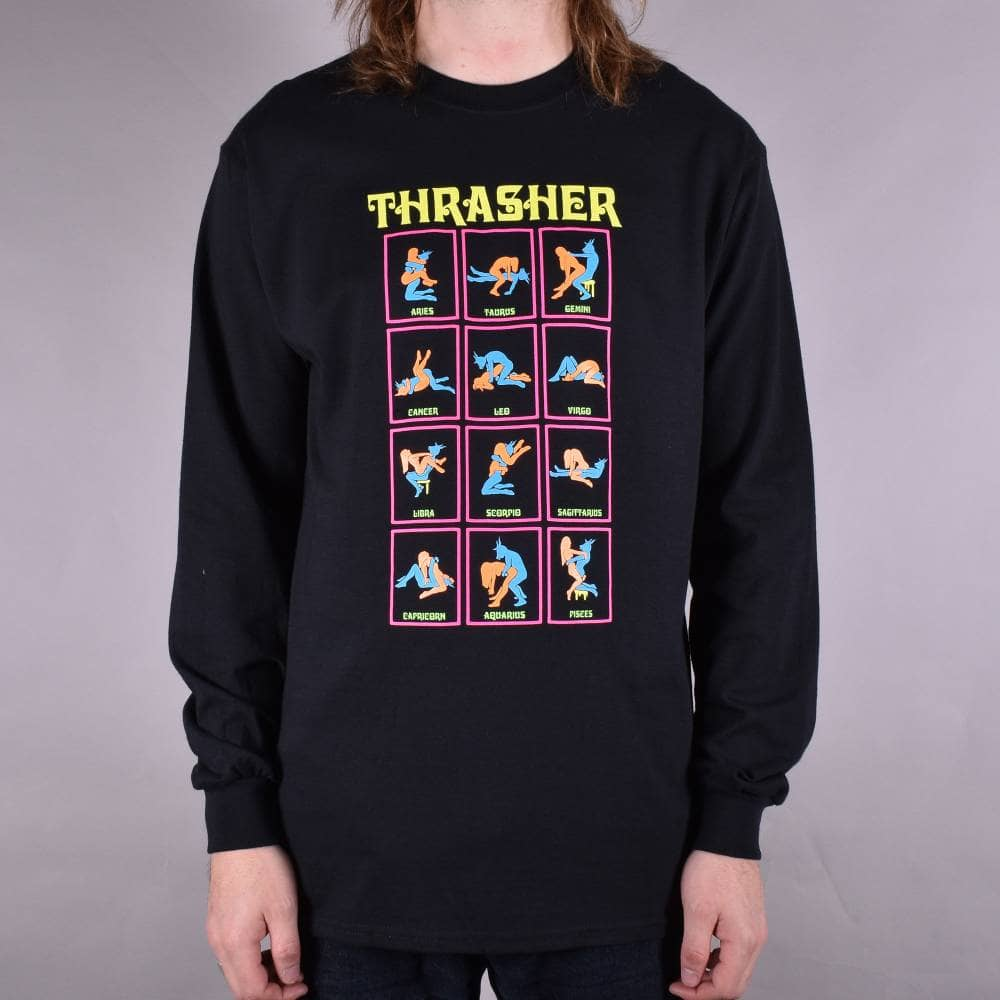 Thrasher Black Light Longsleeve T-Shirt - Black - SKATE CLOTHING ... f1cfad745531