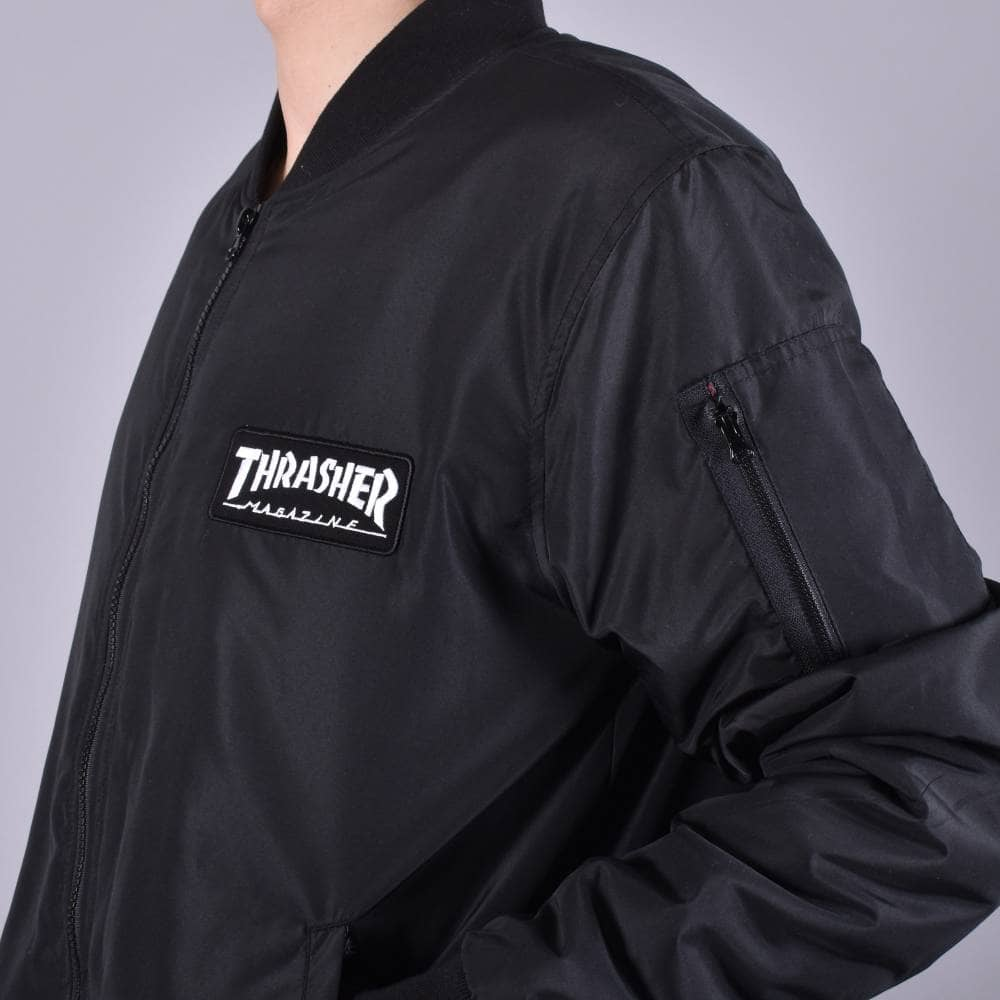41959d325717 Thrasher Bomber Jacket - Black - SKATE CLOTHING from Native Skate ...