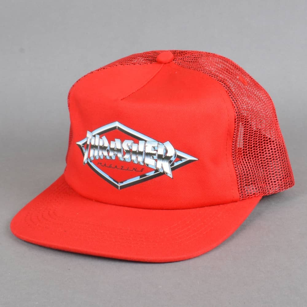 Thrasher Diamond Emblem Trucker Cap - Red - SKATE CLOTHING from ... 6dcb8a7661f
