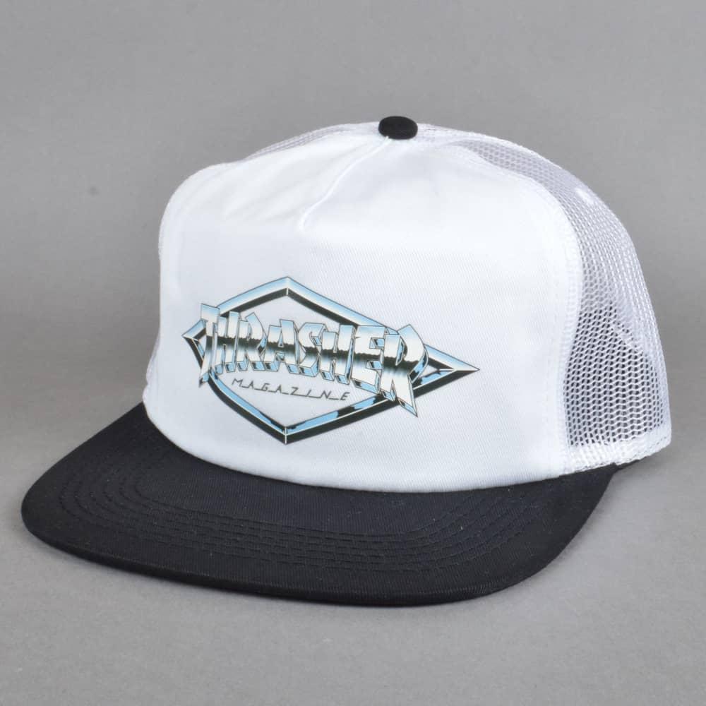 Thrasher Diamond Emblem Trucker Cap - White - SKATE CLOTHING from ... 648f125091c