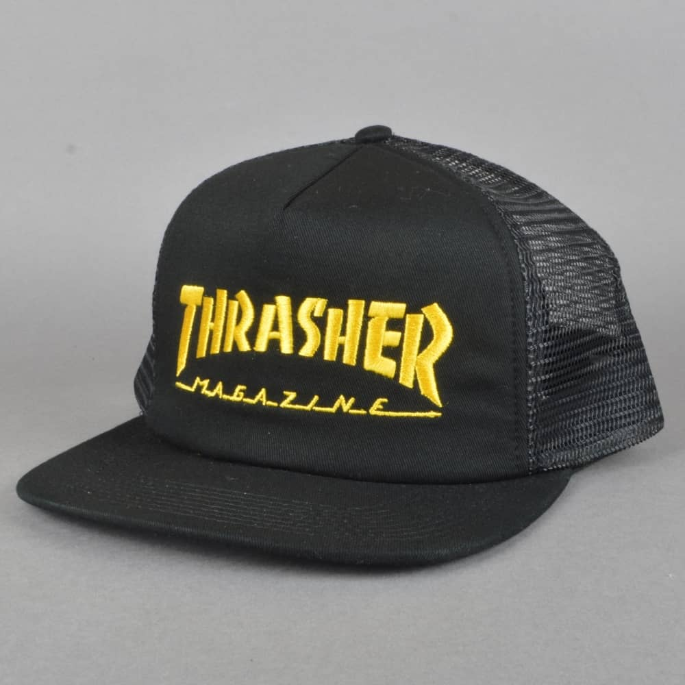 9410d84f8 Thrasher Embroidered Logo Mesh Cap - Black/Yellow