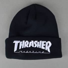 Thrasher Embroidered Logo Skate Beanie - Black/White