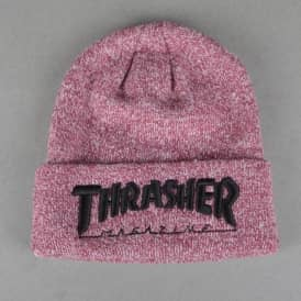 Thrasher Embroidered Logo Skate Beanie - Heather Maroon/Black
