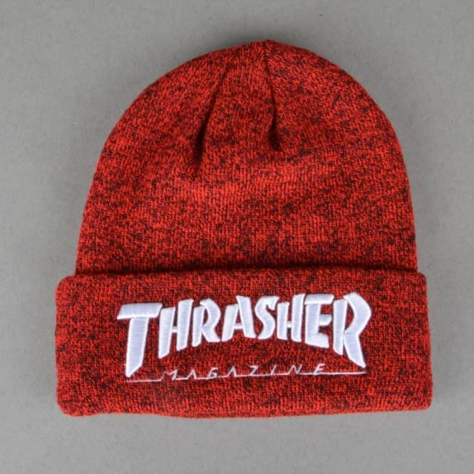 4d0d290f5 Embroidered Logo Skate Beanie - Heather Red/White
