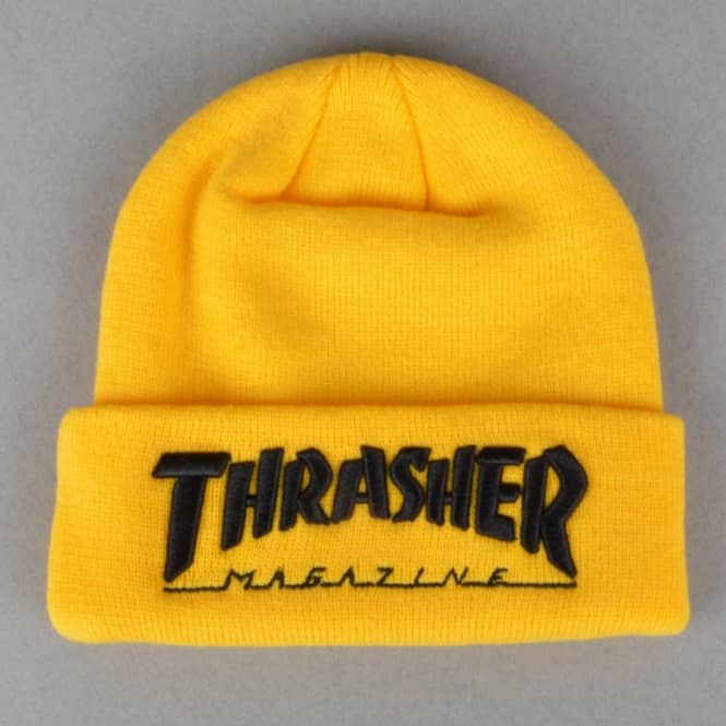 Thrasher Embroidered Logo Skate Beanie - Yellow Black - SKATE ... 9d2a7f4ed6c