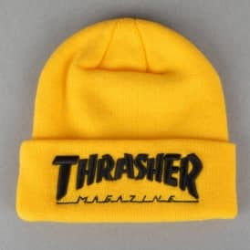 Thrasher Embroidered Logo Skate Beanie - Yellow/Black
