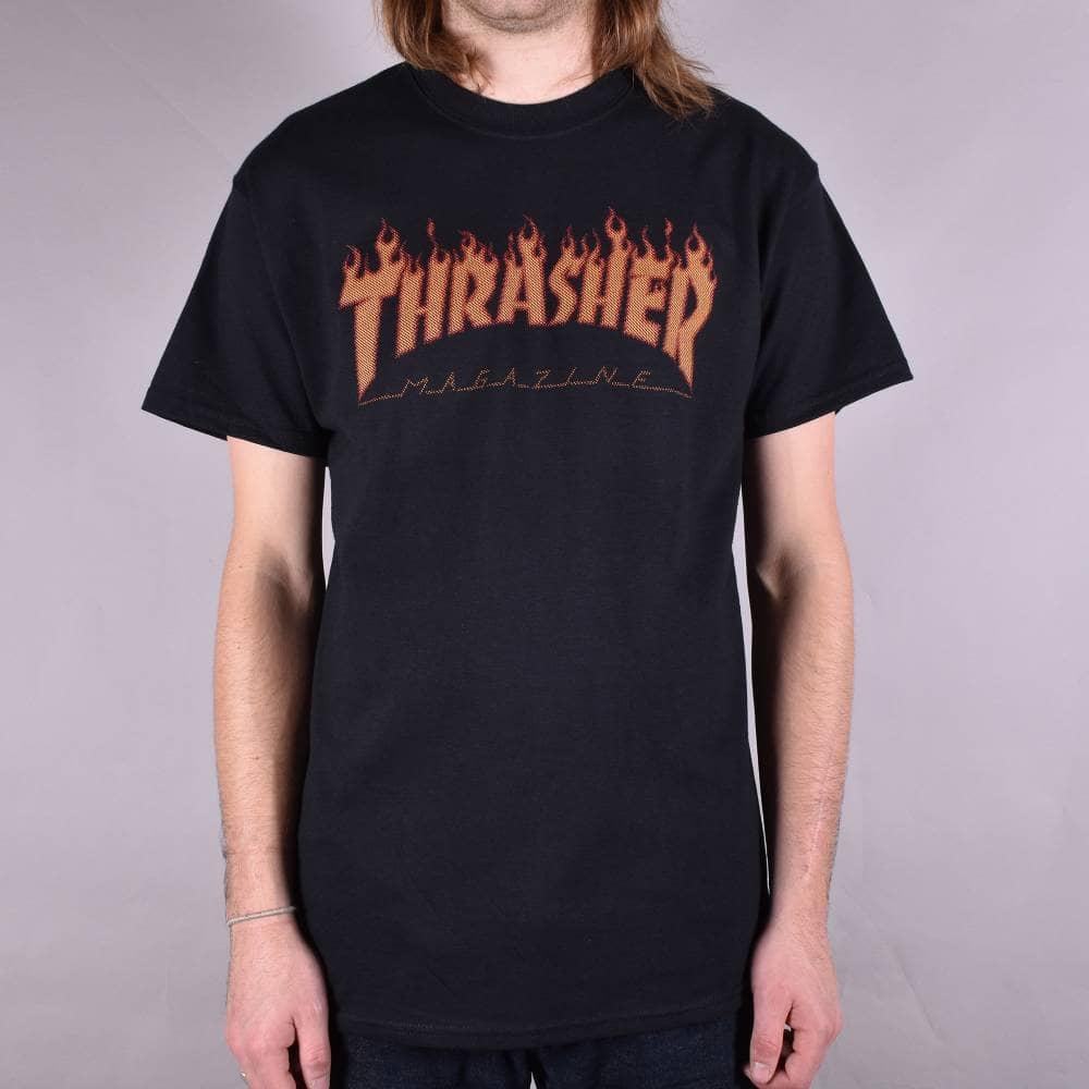 8e2a5b5e8c18 Thrasher Flame Halftone Skate T-Shirt - Black - SKATE CLOTHING from ...
