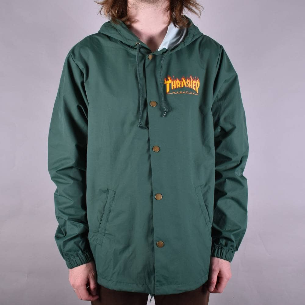 2bbb10dd Thrasher Flame Logo Coach Jacket - Forest Green - SKATE CLOTHING ...