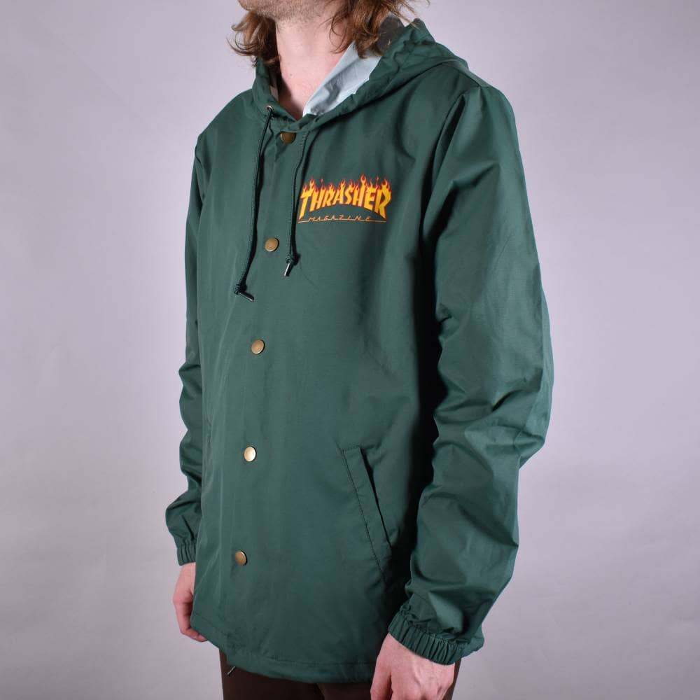 69d9a4c3986a Thrasher Flame Logo Coach Jacket - Forest Green - SKATE CLOTHING ...