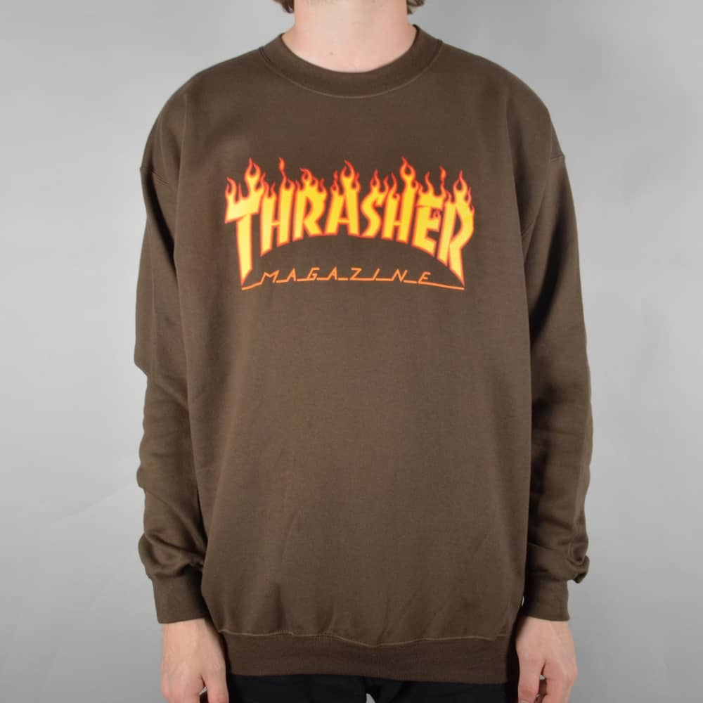 7ef9891c70e7 Thrasher Flame Logo Crewneck Sweater - Brown - SKATE CLOTHING from ...