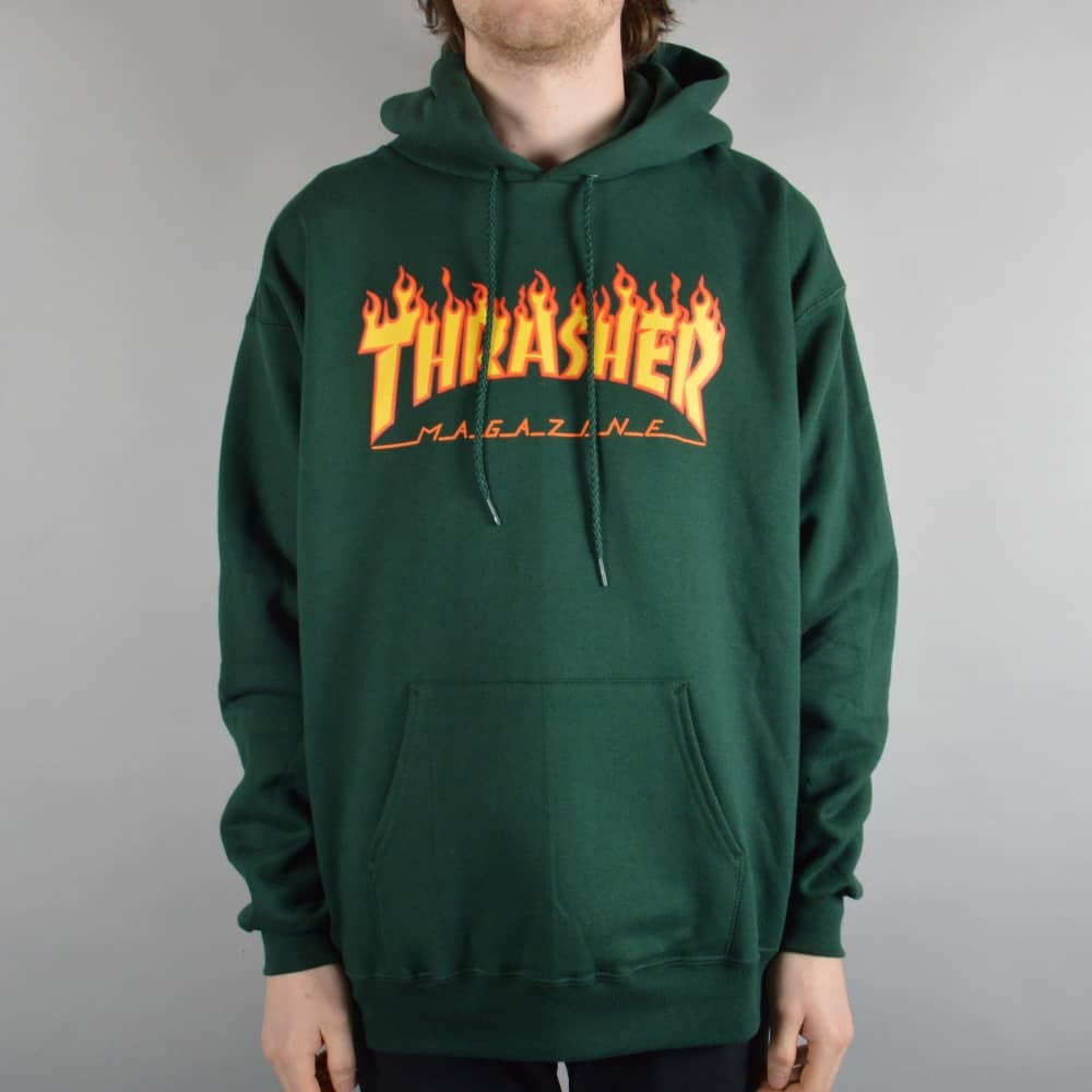 f8f3b10b0715 Thrasher Flame Logo Hoodie - Forest Green - SKATE CLOTHING from ...