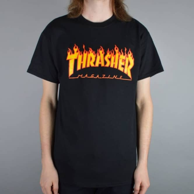 a9b0353a7e63 Thrasher Flame Logo Skate T-Shirt - Black - SKATE CLOTHING from ...