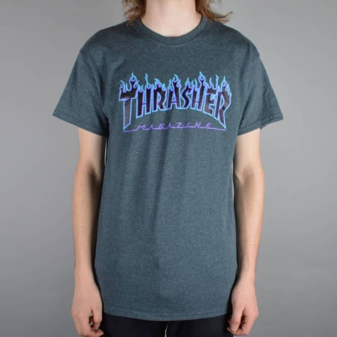 0b7b57bac3d7 Thrasher Flame Logo Skate T-Shirt - Dark Heather - SKATE CLOTHING ...
