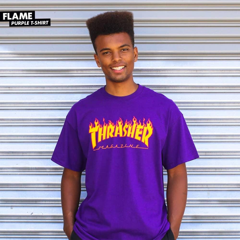 bba04db1227 Thrasher Flame Logo Skate T-Shirt - Purple - SKATE CLOTHING from ...