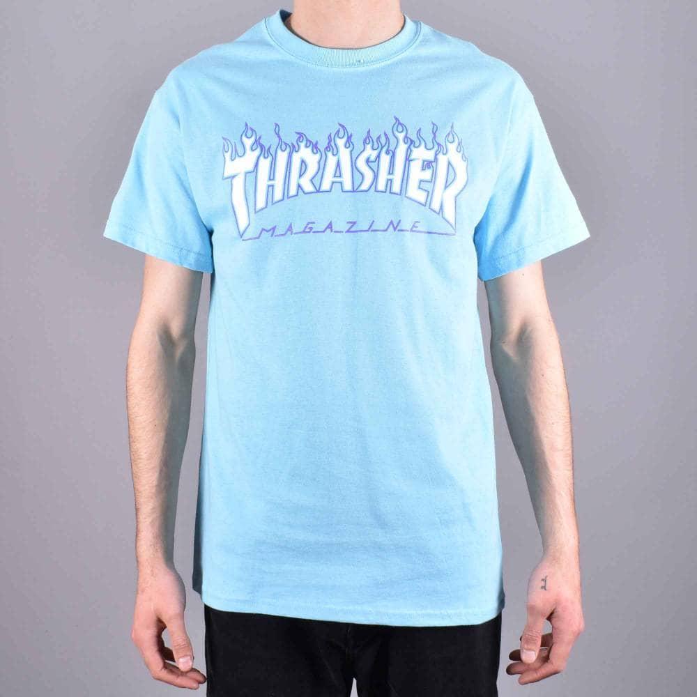 b498ac88d36f Thrasher Flame Logo Skate T-Shirt - Sky Blue - SKATE CLOTHING from ...