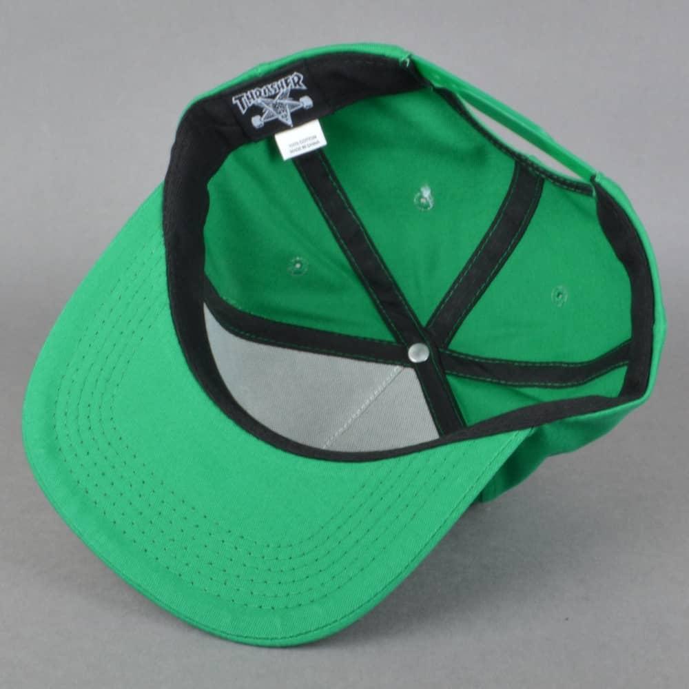 f790368bd702 Thrasher Flame Logo Snapback Cap - Green Rasta - SKATE CLOTHING from ...
