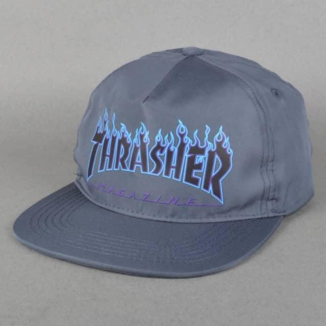 0324862d0277 Thrasher Flame Logo Snapback Cap - Grey - SKATE CLOTHING from Native ...