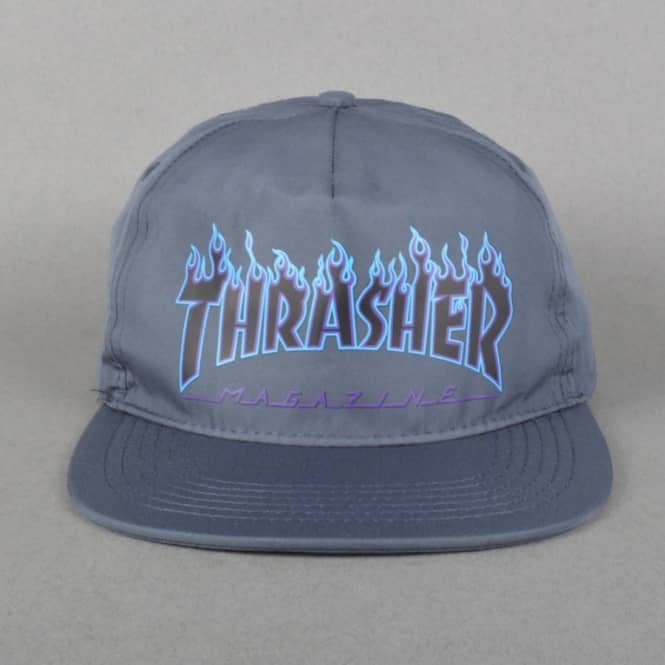 Thrasher Flame Logo Snapback Cap - Grey - SKATE CLOTHING from Native ... 05ce16b00f8