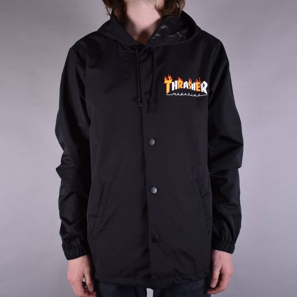 e45d80ef4346 Thrasher Flame Mag Coach Jacket - Black - SKATE CLOTHING from Native ...