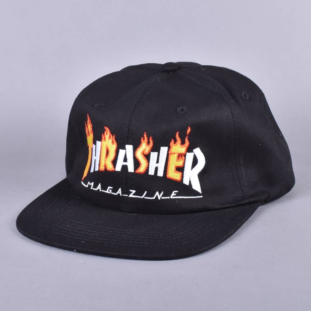 48299dabf5f Thrasher Flame Mag Snapback Cap - Black - SKATE CLOTHING from Native ...