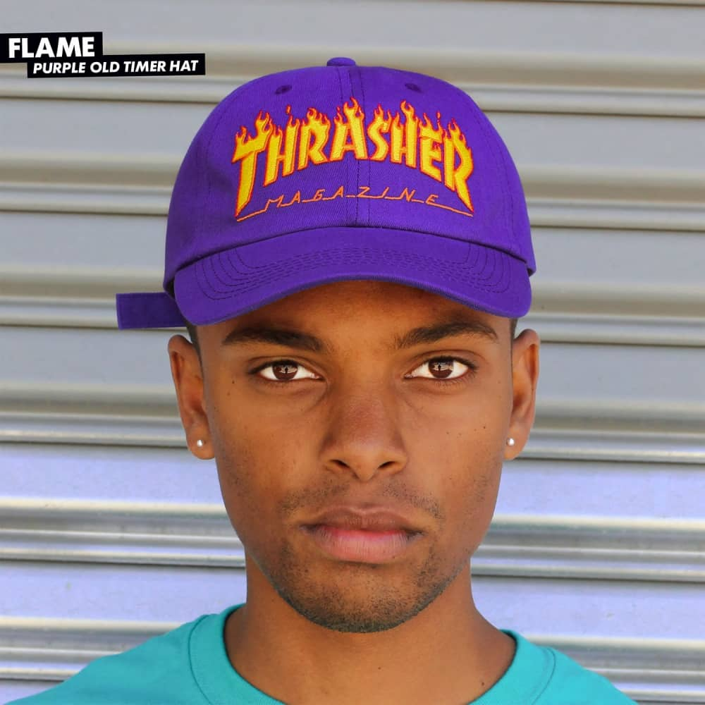 4b014c0748aaf Thrasher Flame Old Timer Dad Cap - Purple - SKATE CLOTHING from ...