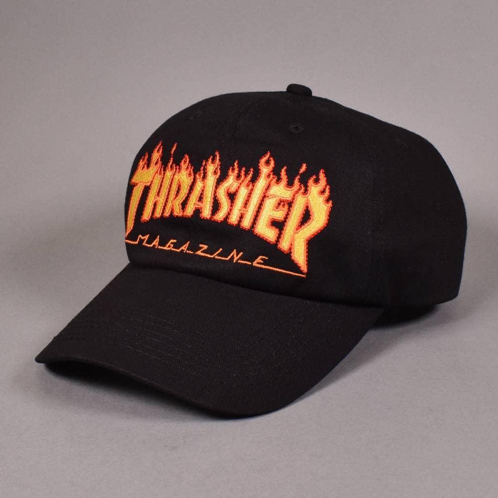 01f78796272 Thrasher Flame Old Timer Strapback Cap - Black - SKATE CLOTHING from ...