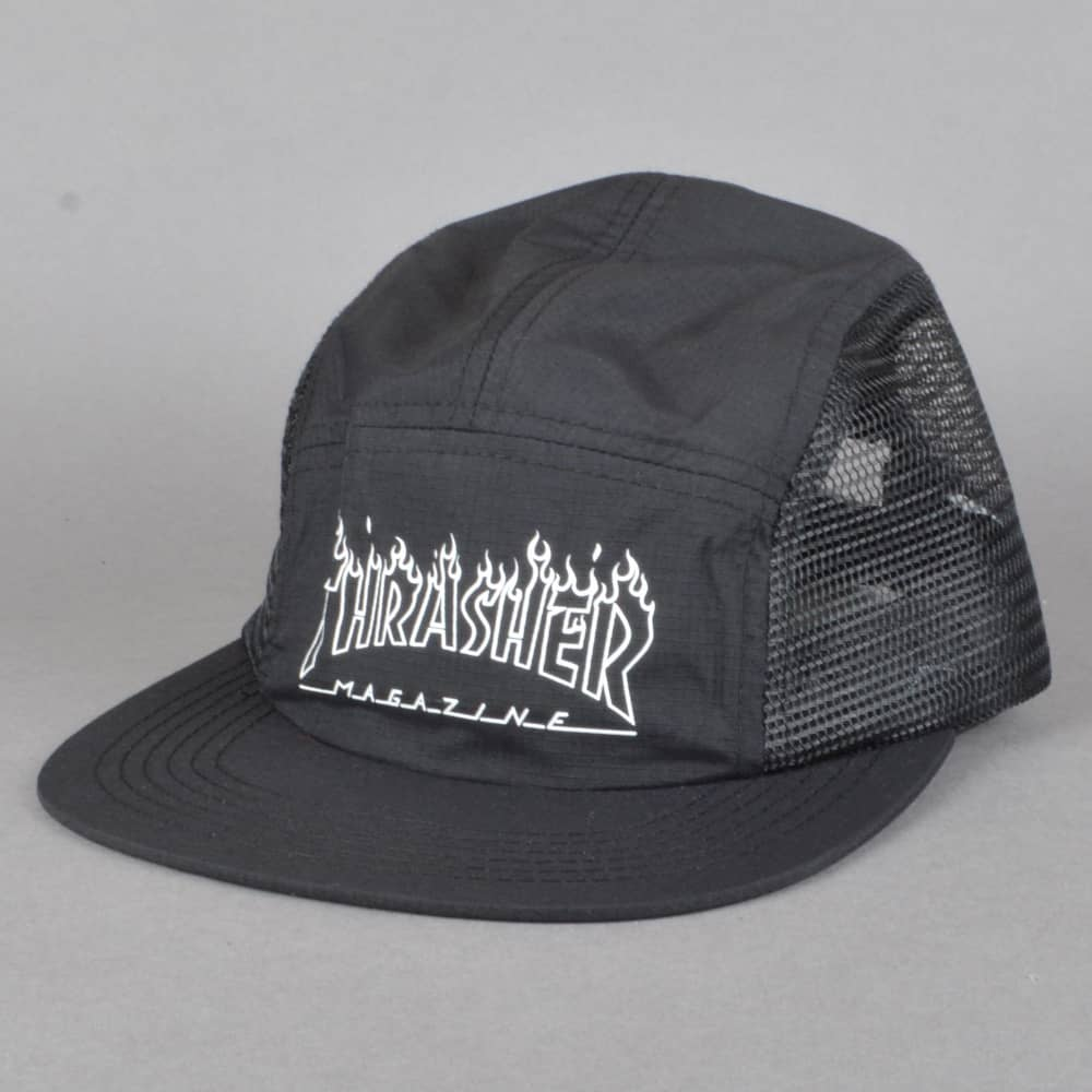 Thrasher Flame Outline 5 Panel Cap - Black - SKATE CLOTHING from ... 83ebcfcacad