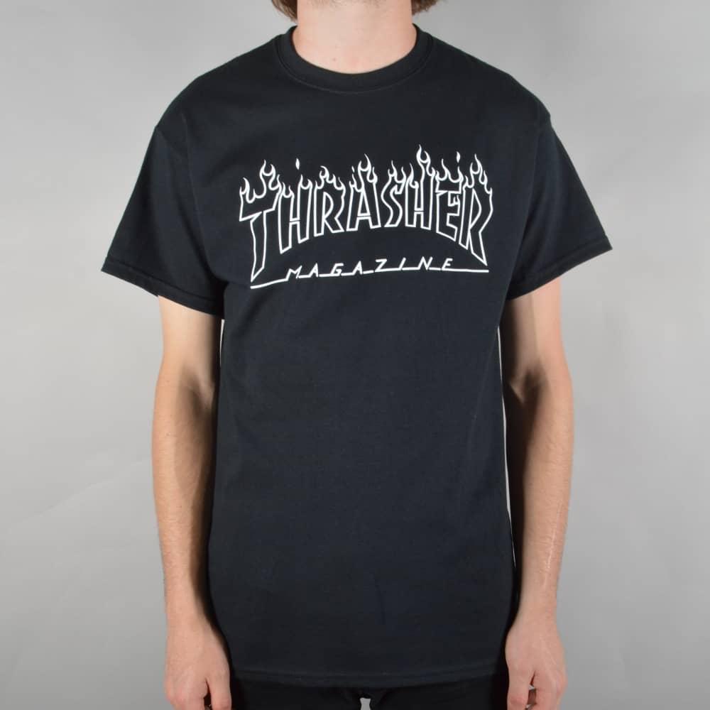 03560877bfa7 Thrasher Flame Outline Skate T-Shirt - Black - SKATE CLOTHING from ...
