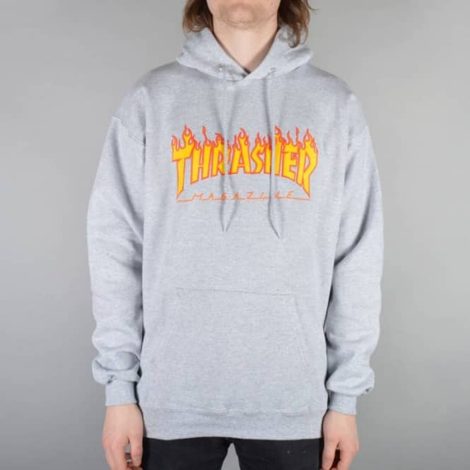 Thrasher Flames Hoodie - Heather Grey - SKATE CLOTHING from Native ... 5d1058279c