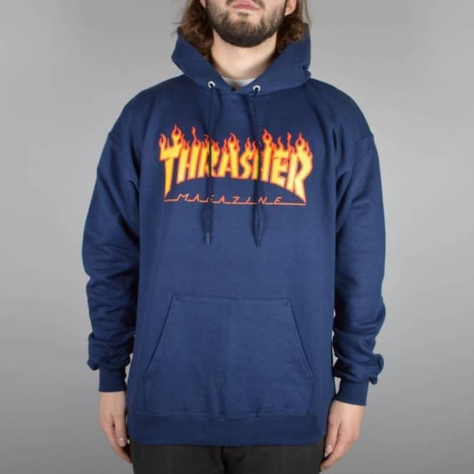 ff6680c46c1e Thrasher Flames Hoodie - Navy - SKATE CLOTHING from Native Skate ...