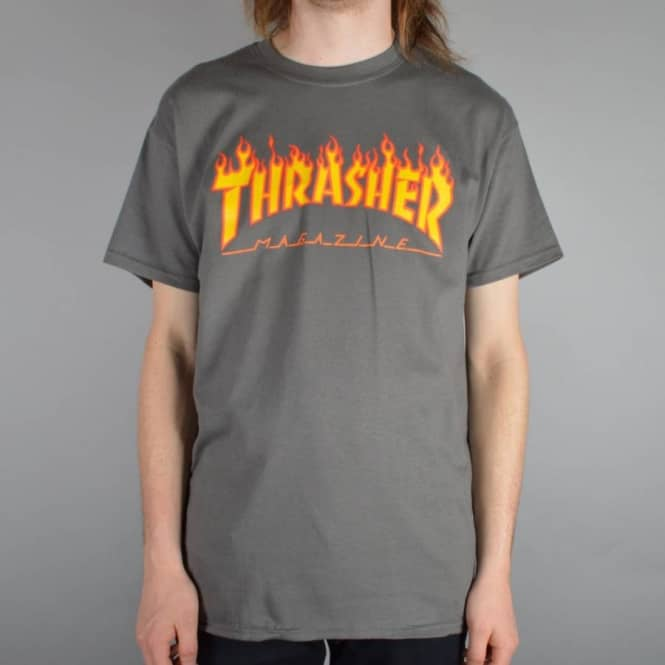 1d6a32509010 Thrasher Flames Skate T-Shirt - Charcoal - SKATE CLOTHING from ...