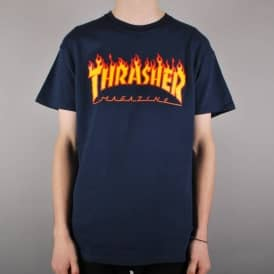 Thrasher Flames Skate T-Shirt - Navy