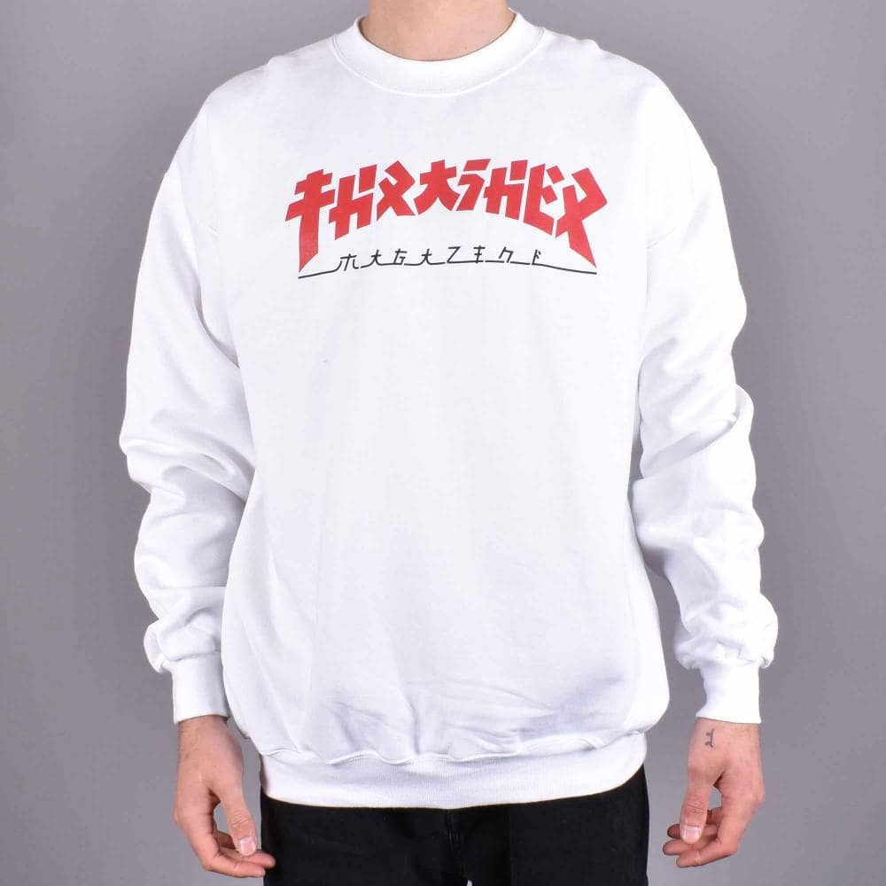 bdcf9bab0a9c Thrasher Godzilla Crewneck Sweater - White - SKATE CLOTHING from ...