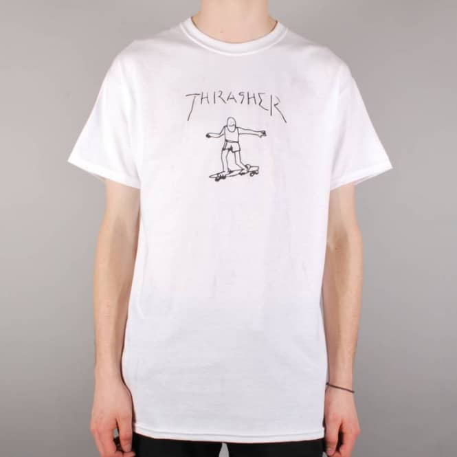 0aeec8c9 Thrasher Gonz By Mark Gonzales T-Shirt - White - SKATE CLOTHING from ...