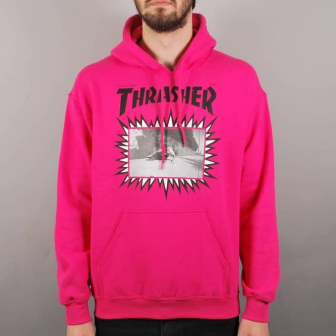 7d557bb59aac Thrasher Jay Adams Explosive Cover Pullover Hoodie - Pink - Thrasher from Native  Skate Store UK